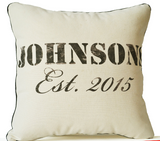 Handmade ivory cotton pillow with personalized family name