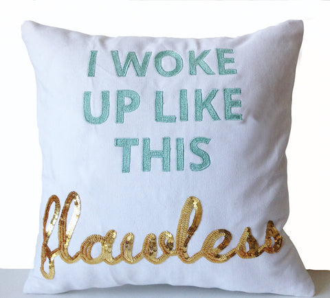 amore beaute quote pillow