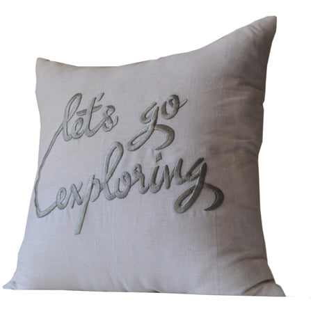 Handmade white linen throw pillow with personalized message