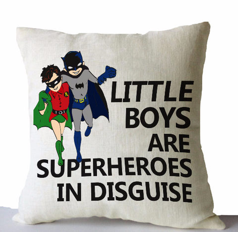 Handmade linen pillow covers with custom superhero designs