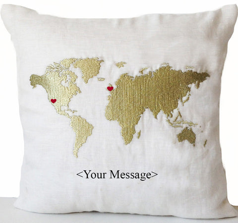Long Distance Relationship Pillow, Gold World Map Heart,Decorative pillow,Throw pillow