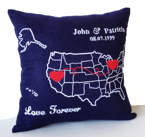 Personalized US Map Pillow, Long Distance Relation Pillow, Couple Pillow