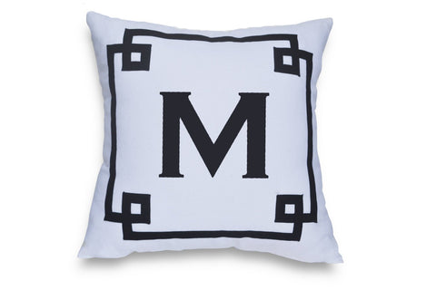 Greek Key Pillow Covers, Monogram Pillow Cover, White Navy Pillow,Decorative pillow