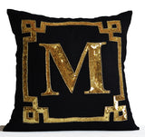amore beaute gold monogram pillow