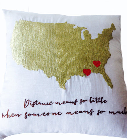 US Map Heart Pillow Covers, Long Distance Relationship Pillow, Wedding gifts