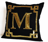 Gold Monogram Decorative Throw Pillow Cover