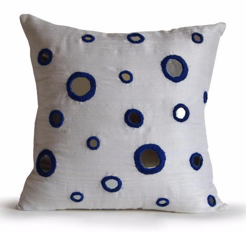 Handmade ivory silk throw pillow with blue mirror thread work