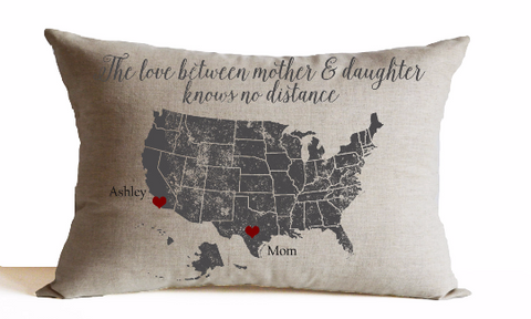 Personalized Decorative Pillow Cover with Love Between Mother Daughter Message