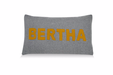 Handmade Mustard Letter Appliqued Woolen Pillow Cover -Gray Felt Personalized Lumbar Pillow Cover