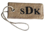 Personalized burlap luggage tags