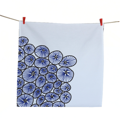 Handmade, personalized cotton tea towels with nautical starfish design
