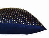 Handmade gold silk pillow with beads and studs