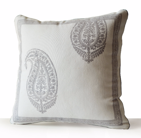 Handmade ivory cotton gray throw pillow