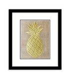 Handmade gold wall art with pineapple monogram