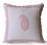 Handmade pink ivory cotton pillow case