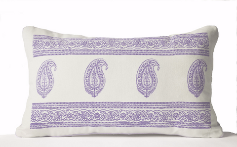 Handmade throw pillow cover with purple Paisley design