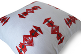 Handmade throw pillow cover with tribal embroidery