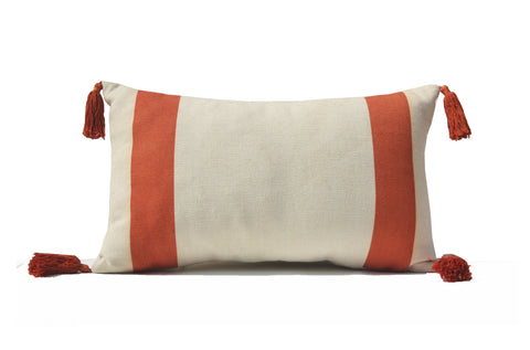 Orange Color Block Pillow Cover, Cotton Stripes, Modern Decor, Lumbar Pillow, Tassels Pillow