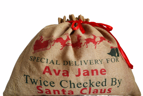 Personalized monogrammed Christmas gift sacks