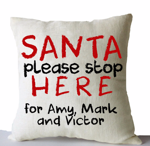 Handmade Christmas throw pillows with personalized message for Santa