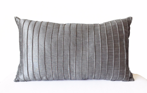Handmade gray silk throw pillow cover with pleats
