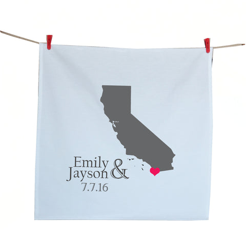 Handcrafted State map tea towels for couples