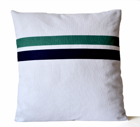 Handmade white cotton throw pillow with geometric design