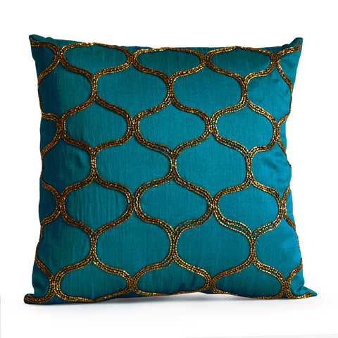 Designer Pillow Decorative Teal Pillow Cover, Turquoise Pillow Silk Brown Trellis Geometric Gold Pillows