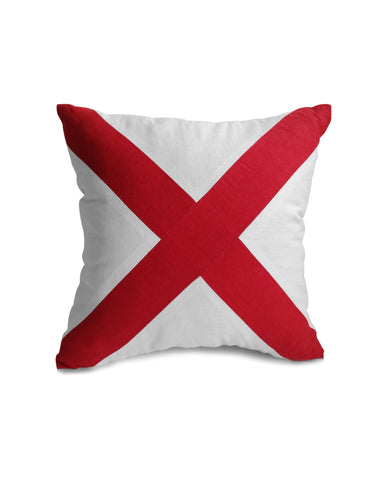 Cross Pillow Cover, Red White Pillow, Nautical, Yacht Decor, Linen Pillowcase