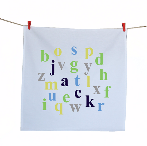 Handmade kitchen towels with alphabetical print