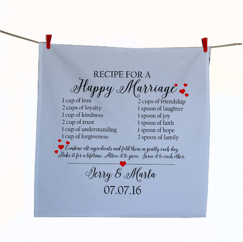 Handmade, personalized wedding and Valentine's day themed tea towels