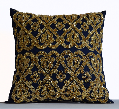 Handmade throw pillow with gold sequin beads embroidery