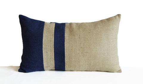 Burlap Pillow Cover, Navy Blue Ivory Pillow, Nautical Pillow, Beach Pillow, Lumbar Pillow