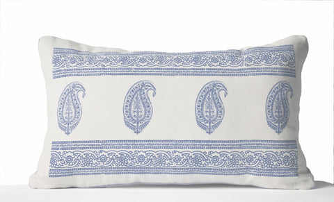 Decorative Throw Pillow, White Cotton Pillowcase, Blue Paisley Pillow, Asian Decor, Lumbar Pillow