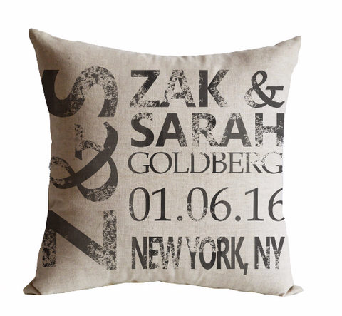 Handmade pillow covers for couples with personalized date