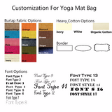 Handmade, personalized burlap yoga mat bag