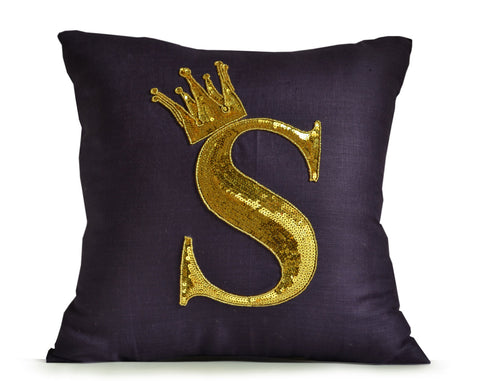 Monogram Pillow Cover, Gold Sequin Letter Monogram Pillow Case,Decorative pillow