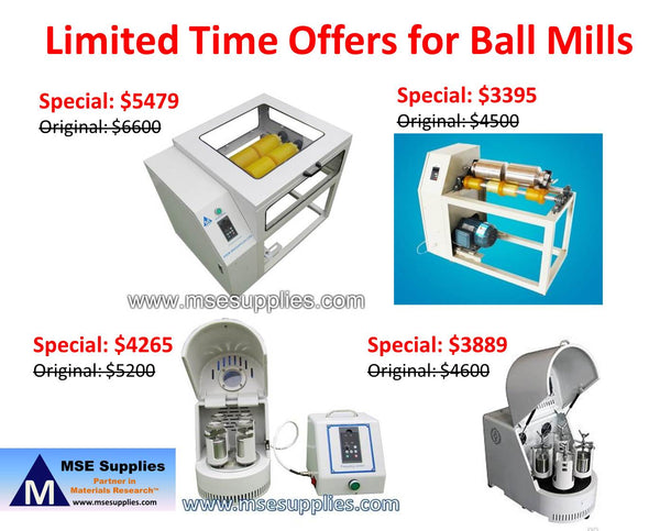 Limited Time Offers for Ball Mills from MSE Supplies
