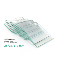 ITO Glass, pack of 10, 25x25x1.1mm, <10 Ohm/sq,  MSE Supplies