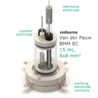 Van der Pauw bottom mount electrochemical cell setup,  MSE Supplies LLC