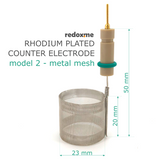 Rhodium plated counter electrode, model 2 - metal mesh,  MSE Supplies