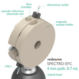 Spectro-electrochemical flow cell setup with reduced optical path,  MSE Supplies LLC