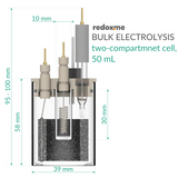 Bulk electrolysis two-compartment cell setup,  MSE Supplies LLC