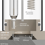 Quartz crystal microbalance (Biolin Scientific) electrochemical cell setup,  MSE Supplies LLC