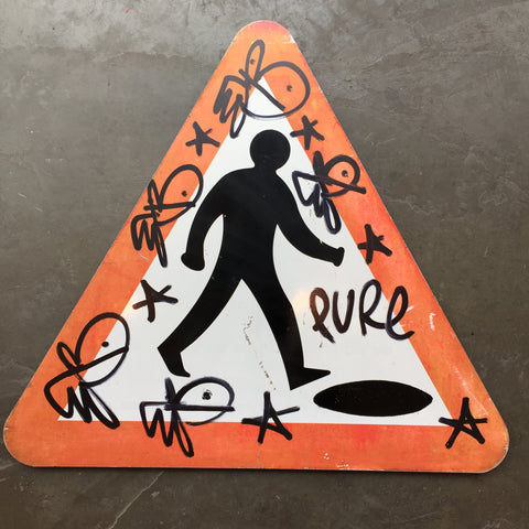 The Black Hole - Bunny Tags and Black Void on Road Works Sign