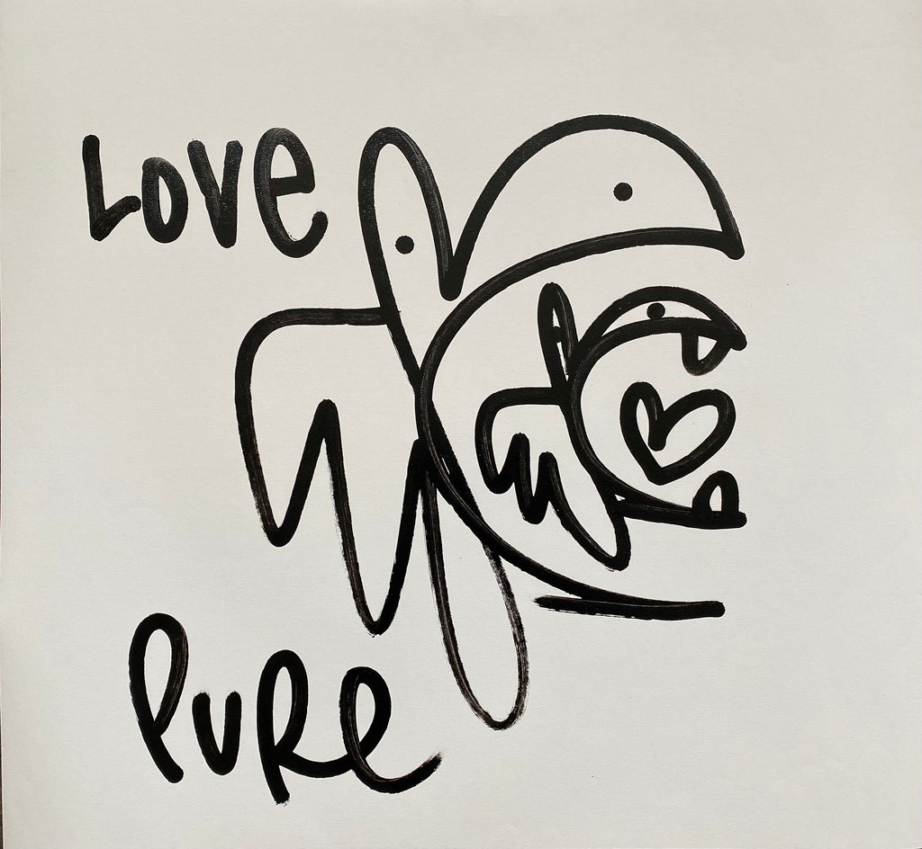 Bunny Tag on Canvas - Pure Love