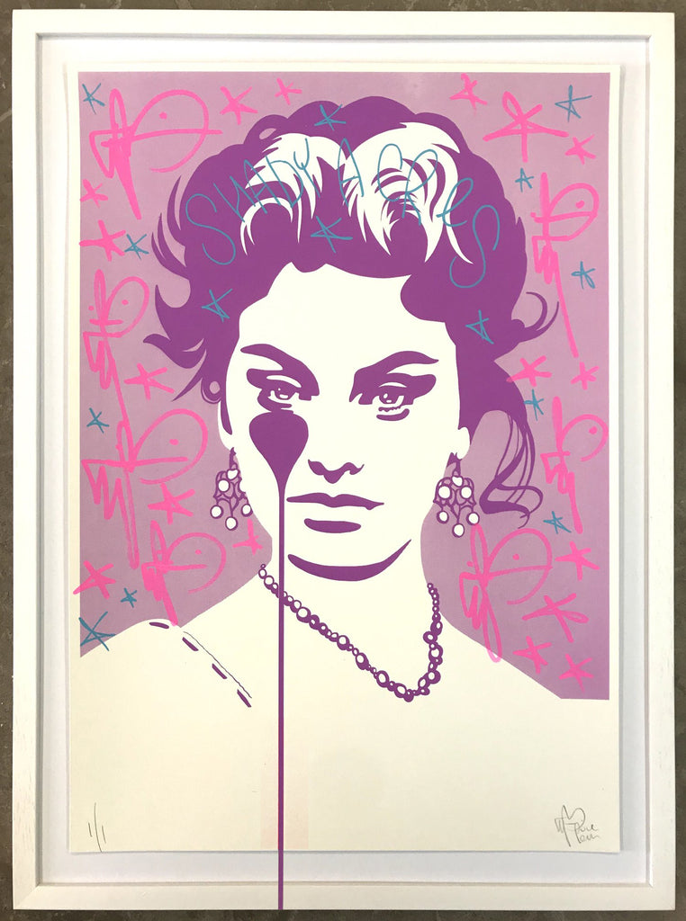 Handfinished Spitalfields print - Sophia Loren Shady Acres - Framed