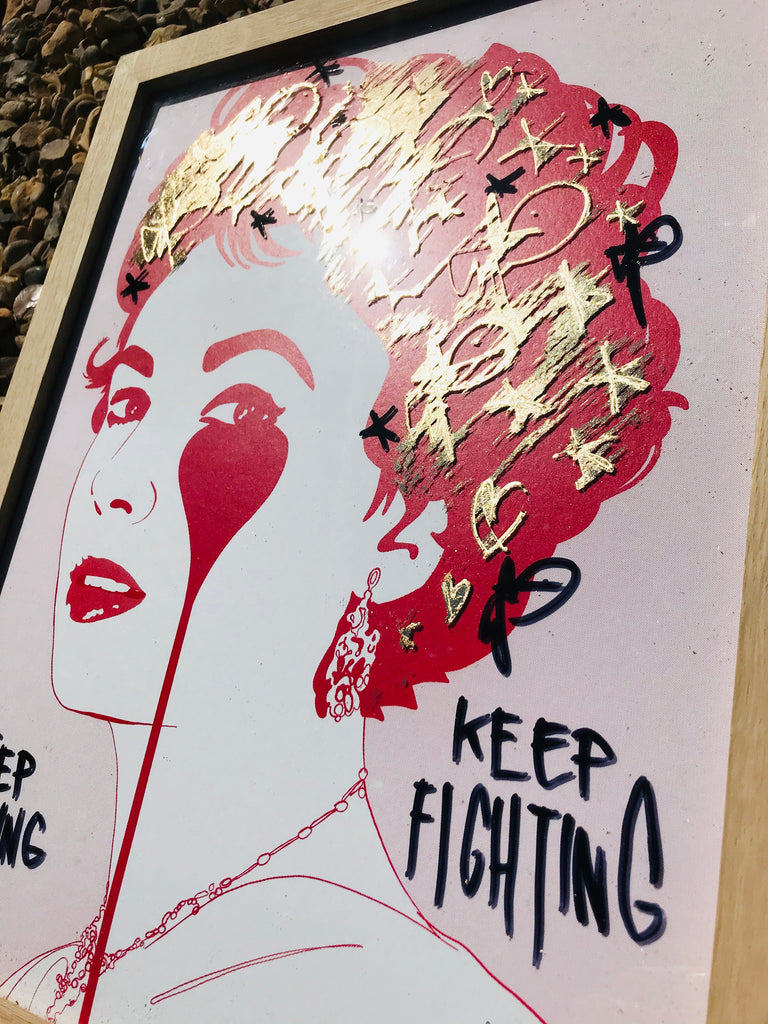 Gold Leaf Handfinished print - Keep Fighting Keep Loving Young LIz - Framed