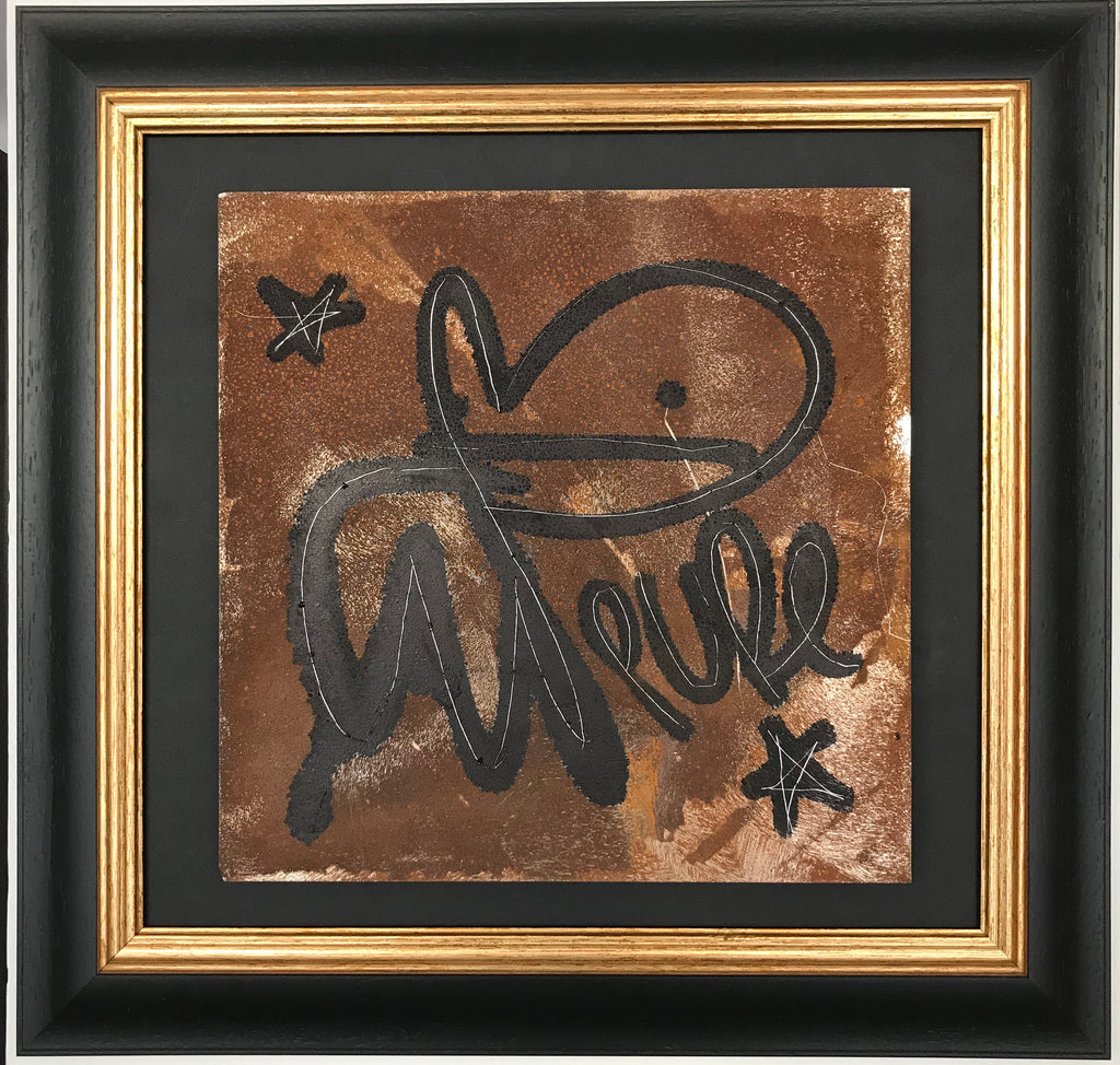 Bunny tag on rusted metal panel 2 framed
