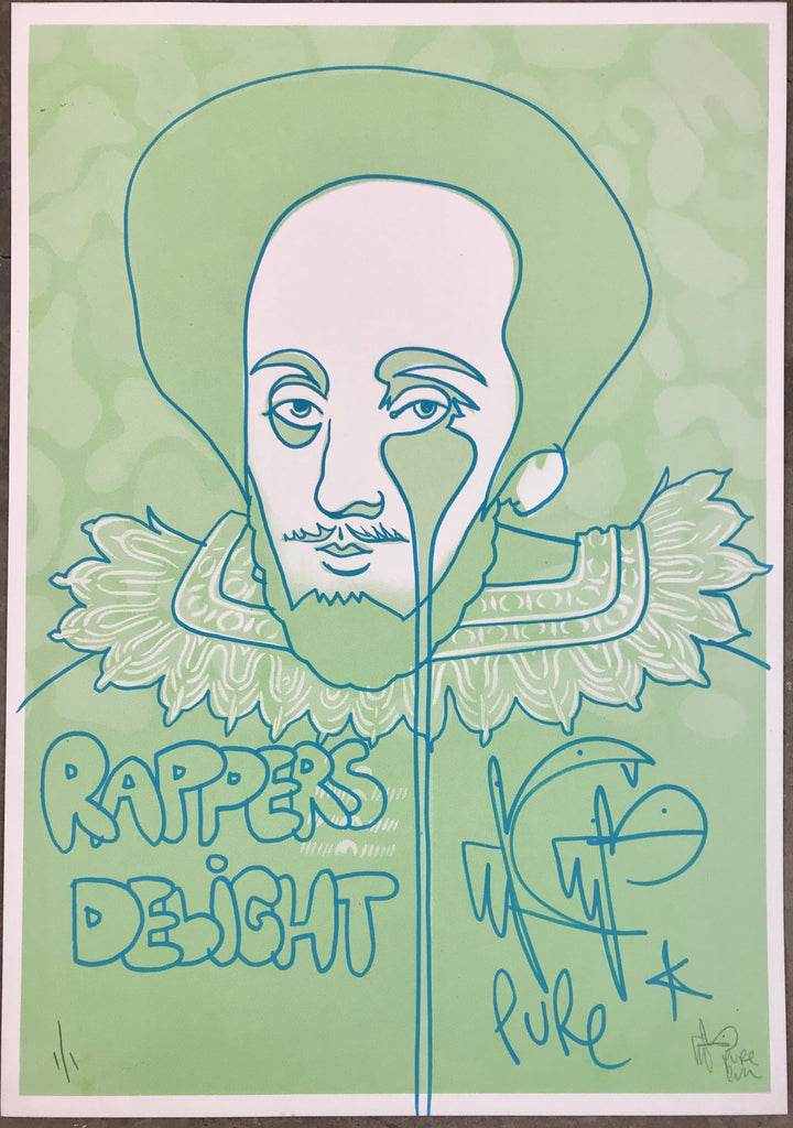Handfinished mini print - Shakespeare Rapper's Delight - World Book Day